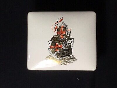 Rare Vintage Sandland Ware Trinket Box And Trays Depicting Nautical Theme • 10£