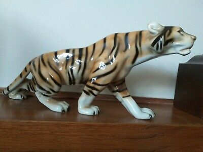 ROYAL DUX MAGNIFICENT VINTAGE BENGAL TIGER 14 Inches Long MADE IN CZECHOSLOVAKIA • 80£