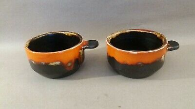 2 X Vallauris  CIDER  Cups Vintage French Fat Lava Pottery 70's • 12£