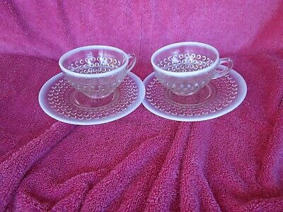 Set Of 2~vintage Fenton Hobnail Clear  Opalescent Coffee/tea Cups &saucers~ • 12.09£