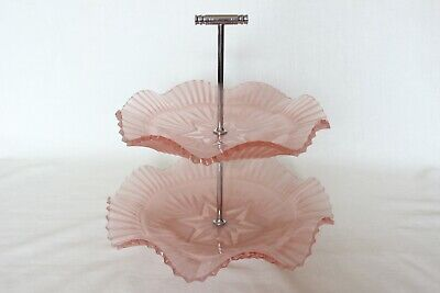 Art Deco Two Tier Pink Glass Cake Stand By Sowerby • 17.99£
