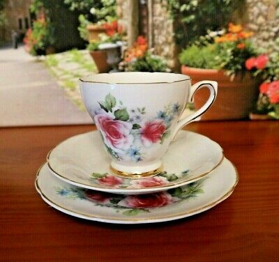 Royal Sutherland China Roses & Forget Me Not Tea Set Trio • 9.99£