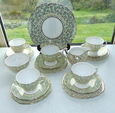 Vintage Colclough Green And Gilt Chintz Pattern 6747 Cups Saucers Plates Milk  • 38£