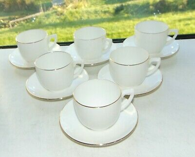 Hargreaves Hardura Hotel Ware 6 X Coffee Cups And Saucers White Gilt Trim • 15£