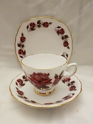 VINTAGE Colclough Dark Red Roses Bone China Teacup & Saucer Plate Trio Gold Band • 6.99£