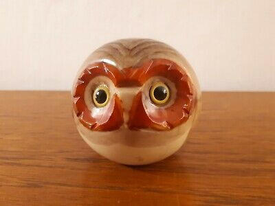 Small Noymer Italy Real Alabaster Owl Round Paperweight • 20£