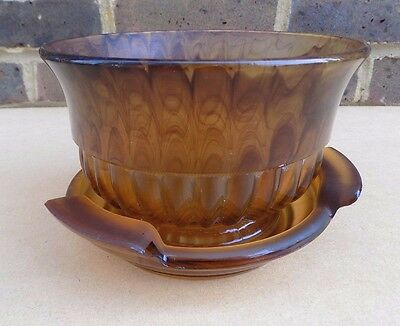 Art Deco Brown Cloud Glass Flower Bowl With Stand • 24.99£