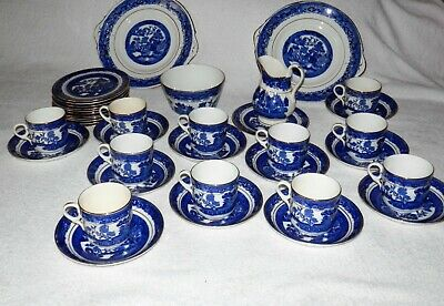 Antique STAFFORDSHIRE Willow Pattern Blue On White With Gold • 22.50£