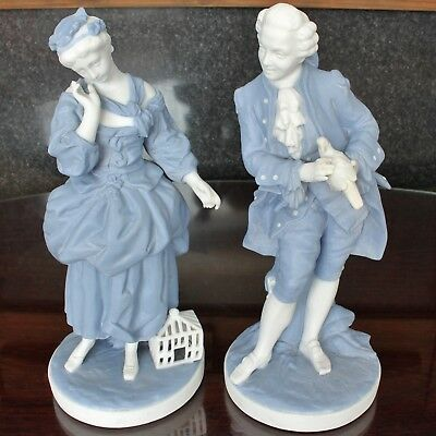 French Blue & White Parian Figurines By Letu & Mauger, Romantic Couple • 165£