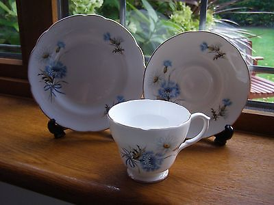 Springfield English Fine Bone China Trio Cup Saucer Plate Blue Cornflowers, Mint • 4.95£