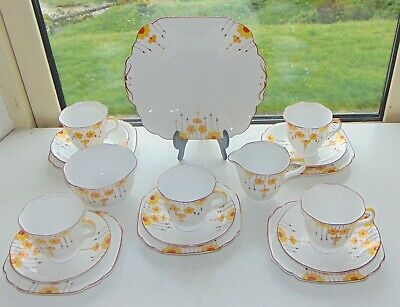 Melba China 1940s Hand Painted 4404 Orange And Yellow Daisies 18 PC Teaset • 58£