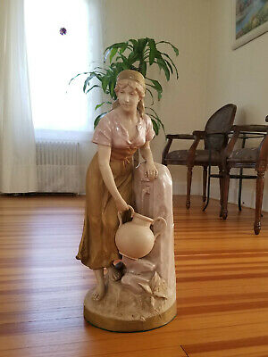 Large Royal Dux Porcelain Figurine Statue Girl Lady W/ Pitcher At Water Fountain • 216.35£