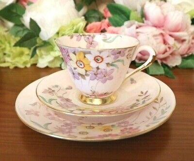 Tuscan China Pale Pink Hand Painted Floral Tea Set Trio • 14.99£