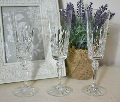 Galway Crystal Champagne Glasses/ Flutes Set Of 3 Boxed  (refV15) • 19.95£