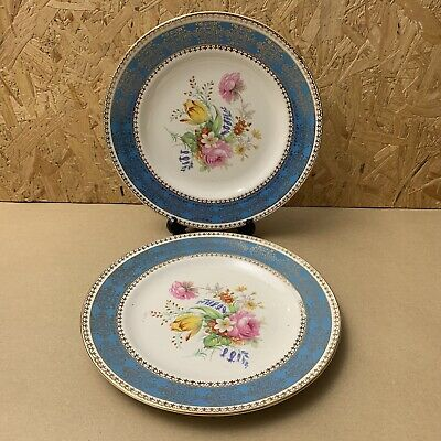 2 X Vintage Crown Clarence Gold Floral Plates - Blue Band - 23cm • 4.99£