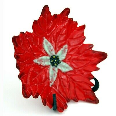 Astons Fused Glass Flower Dish Bowl Poinsettia With Stand • 34.99£