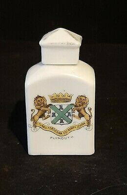 Very Rare Crested China Gemma Perfume Bottle Plymouth Crest • 20£