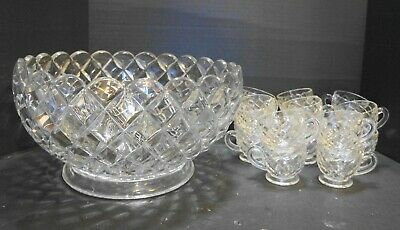 Anchor Hocking Waterford Waffle Punch Set Bowl 16 Cups Depression Glass Clear • 122.19£
