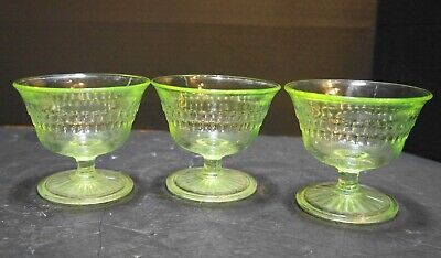 Anchor Hocking Roulette Many Windows Green Depression Glass Sherbets • 20.36£