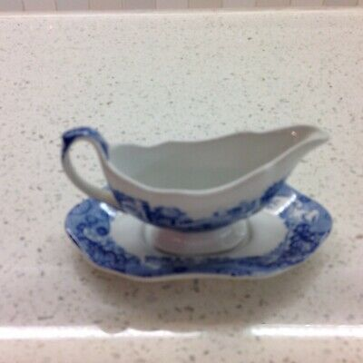 Spode Blue Italian Miniature Gravy Boat And Stand 1st Quality • 30£