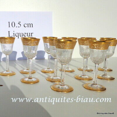 Glasses Liquor In Crystal St-Louis - Thistle Gold 4.1inch Openwork Foot • 100.89£