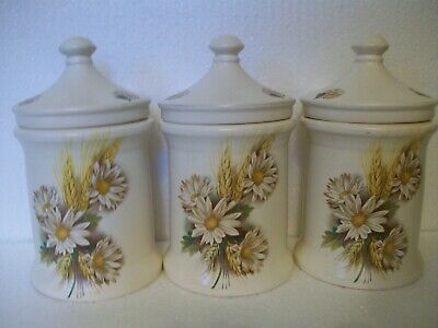 3 Vintage Purbeck Pottery Storage Jars. Daisies And Wheat, • 21£