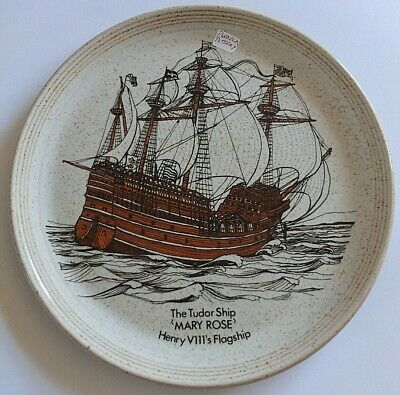 Vintage Heavy Stoneware Purbeck Pottery Mary Rose Ship Collectors Plate • 17.95£