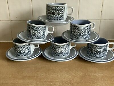 Hornsea Tapestry - 6 X Cups And Saucers • 15£