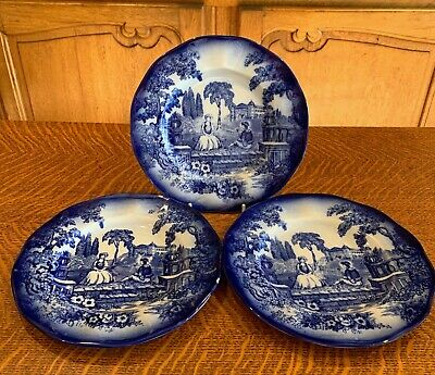 3 Antique Staffordshire Victorian Flow Blue  8 3/4   Plates - Man Courting Girl • 13.89£