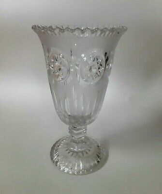 Large Cut Frosted Glass Footed  Celery Vase • 11.50£