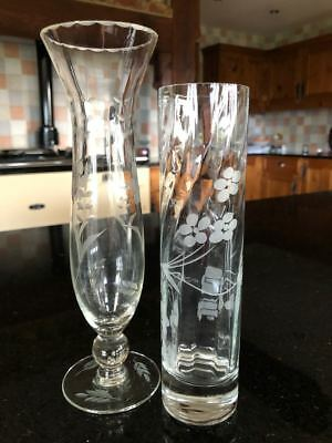 Etched Glass Bud Vases X2 • 10£