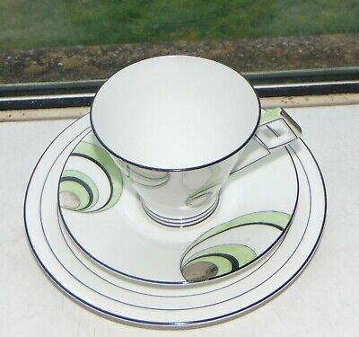 Foley Art Deco Bone China 2  Trios Cups Saucers Plates Green Circles And Swirls  • 38£