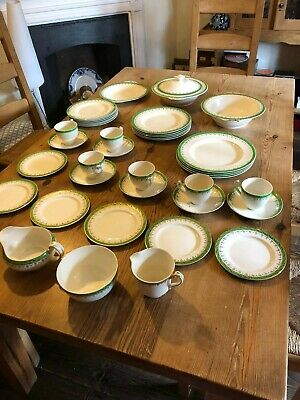 Alfred Meakin Art Deco Green And Gold Dinner Service • 80£