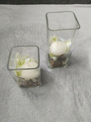 2 Glass Cubre/ Square Shaped Candle Ornament • 12£