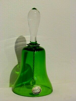 Vintage  Original Bohemia Green Glass Table Call Bell • 10£