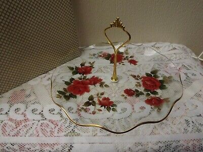 Vintage Glass Floral Cake Stand / Original Box • 8.50£