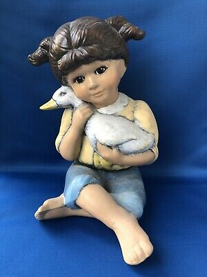 Retro Plaster Pottery Hand Painted Girl Elizabeth Goose Bird 1960s 24cm High • 49.99£
