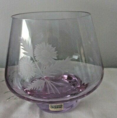 1970s Caithness Glass Bowl Vase Lilac Purple Etched Sunflowers Boxed Vintage • 12.99£