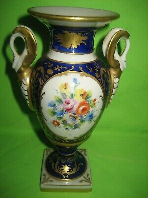 FRENCH  LE TALLEC PORCELAIN Cobalt Blue Two Handled HAND PAINTED VASE Signed  • 48£