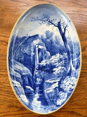 Large Antique Blue & White Wall Plaque Water Mill Scene • 48£