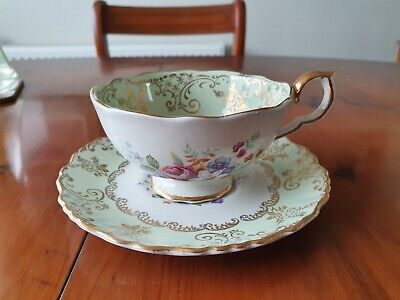 Beautiful Old Foley  James Kent  'bouquet'  Green Cup And Saucer • 10.50£