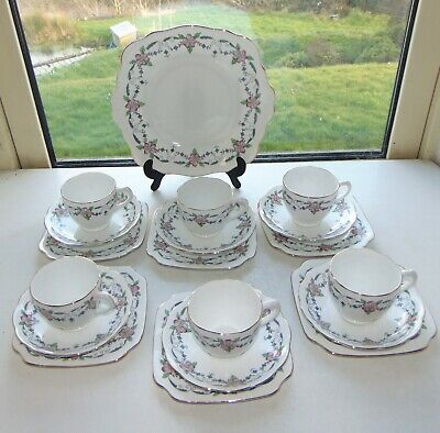 Staffordshire English Porcelain 19 PC Hand Coloured Cups Saucers Plates 2437  • 20£