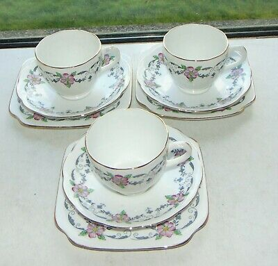 Staffordshire English Porcelain  Hand Coloured 3 X Cups Saucers Plates 2437  • 12£