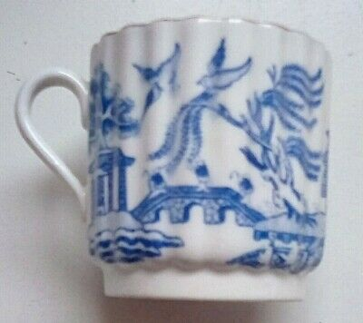 COPELANDS CHINA BLUE & WHITE 2  RIBBED DEMITASSE COFFEE CUP - Good Condition • 2.94£