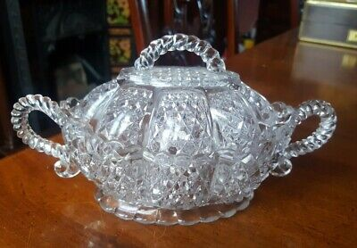 Victorian Pressed Glass Covered Bowl - Edward Moore 1887 • 18£