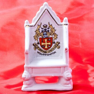 Unknown English Maker Crested China Coronation Chair-Throne Wolverhampton Crest • 5.99£