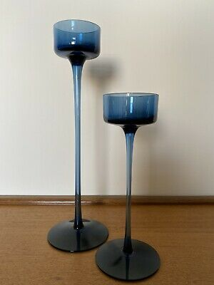 Set Of 2 Brancaster Wedgwood Blue Glass Candle Holders By Stennett Wilson  • 34.99£