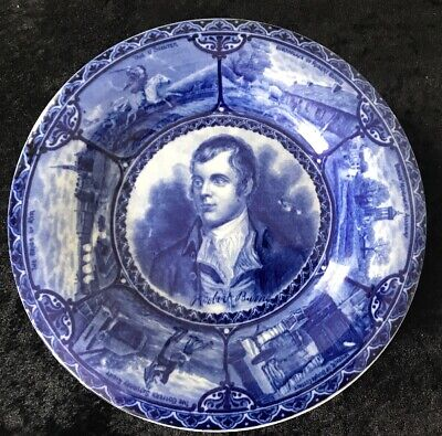 Robert Burns Opaque China Blue Plate-Rd No 425142-scenes Of His Life Around Rim • 24.99£