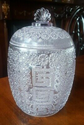 A Victorian Pressed Glass Candy Jar And Cover 1880. • 20£