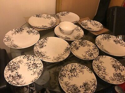 M&S Home Etched Peony Porclain Dinner Set • 15£